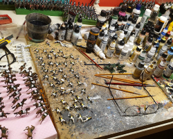 painted miniature scale soldiers and warriors